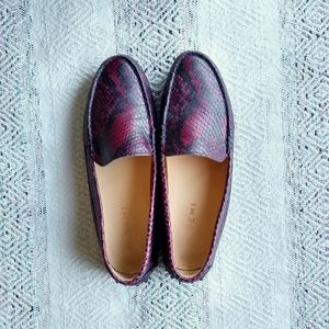 M. GEMI Rare! Red Snake-print Felize Loafers 7